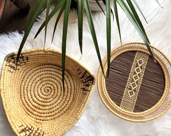 coiled straw, handwoven triangle basket