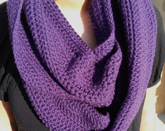Purple Infinity Scarf, Purple Scarf, Purple Crochet Scarf, Purple Loop Scarf, Purple Circle Scarf, Purple Crochet Infinity