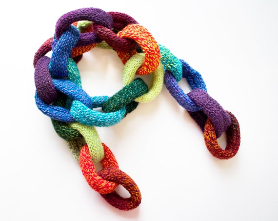 Rainbow Chain Scarf • Rainbow Scarf for Adults - Chain Link Design Quirky Winter Scarf - Colourful Chain Link Scarf • Rainbow Chain Scarves