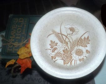 Vintage (c. late 1970s - 1980s) Barratts of Staffordshire   Doverstone cereal bowl. Brown flowers, wheat sheaves, cream speckled ground.