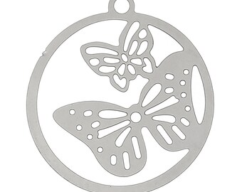 set of 10 charms/pendants prints filigree Matte Silver butterflies of 23 X 21 mm