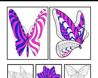 Butterflies Digital Coloring Book