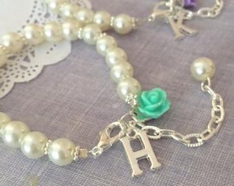 SPRING SALE Pearl, Flower Girl, bracelet, adjustable, personalized, initial bracelet. Choose rose.