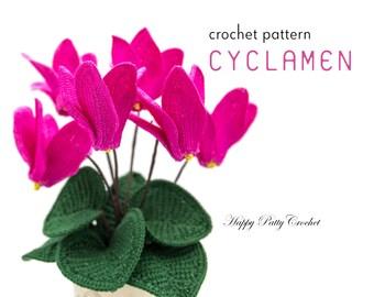 Crochet Cyclamen Pattern - Crochet Flower Pattern for Cyclamen Flower - Crochet Pattern for Decor, Bouquets and Arrangements