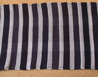 Handwoven Rag Rug - Navy and LIght Blue Stripes - 44 inches....(#155)