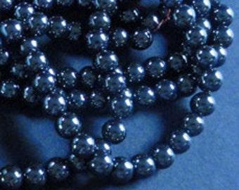 50pc HEMATITE 6mm Shiny GUNMETAL BLACK Round Sphere Spacer Beads
