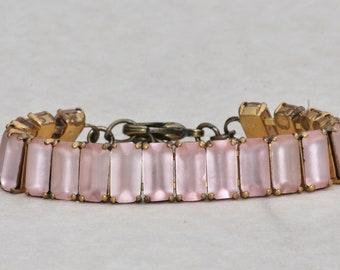 LIMITED STOCK Vintage Blush Pink Matte Baguette Bracelet,Rhinestone Crystal Tennis Bracelet,Matte Nude Blush Silk Pink,Unique,Something Old