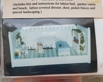 """1/4"""" Garden Bedroom Kit Young at Heart Tiny Miniature Room Do it Yourself Miniature Bedroom Kit with Instructions"""