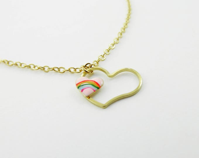 Featured listing image: Pink Rainbow Heart Cutout Necklace
