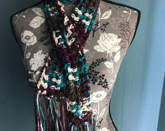 Lace Pattern Crochet Skinny Scarf in Multi Colors with Fringe Boho Style