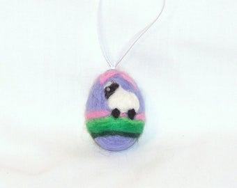 Easter Egg -  Mini Ornament - Needle Felted Egg -  Black and White Lamb Sheep on Lavender - Easter Felt - Needle felting - Easter Gift