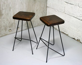 Bar Stool, Industrial Stool, Kitchen Stools, Counter Stool, pure oak and steel, minimal design, handcrafted - by Nortre - dark lower version