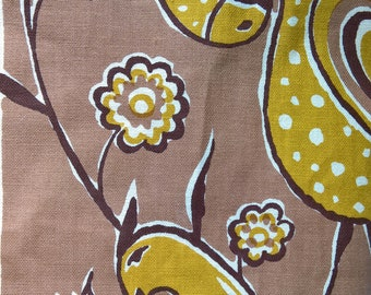 "Vintage Fink Handprint by Barrett from 1970s Birds and Tulips Brown White and Mustard 44 1/2"" x 50"""