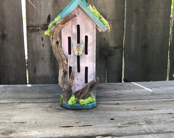 Butterfly House Primitive Rustic Butterflies Habitat Nesting Box with Driftwood, Handmade & Hand Painted Bug Box Garden Art Item #613333881
