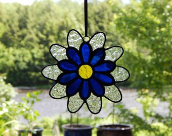 Stained Glass Flower Suncatcher Blue/Clear Textured/Yellow