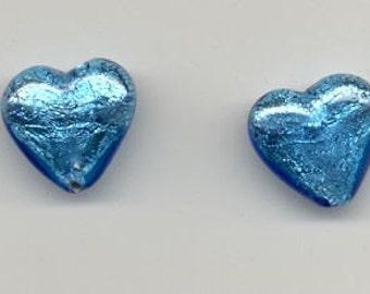2 Aqua 18 mm Heart Beads Venetian Glass