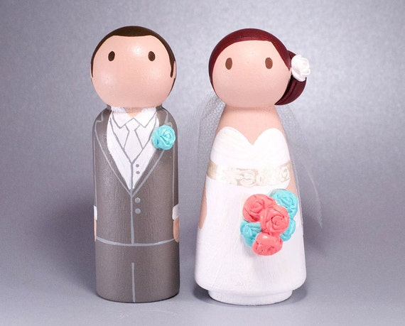 wedding cake toppers wooden dolls items similar to wedding wooden peg doll cake topper with 26642