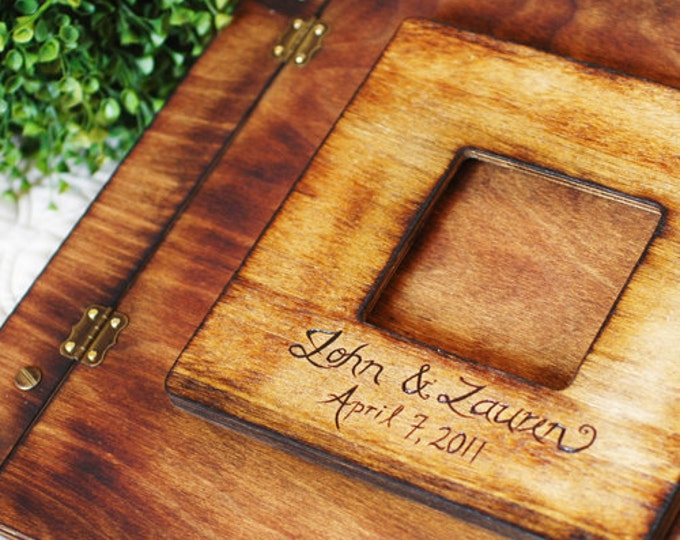 Rustic Wedding Album or Guest Book with Personalized burned engraving and inlay key design