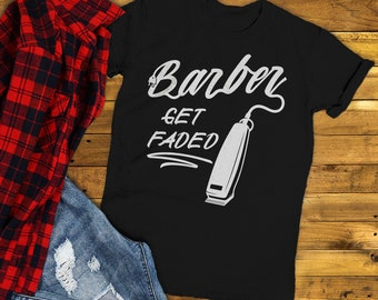 Men's Barber T-Shirt Get Faded Vintage Tee Clippers Shirt For Barbers