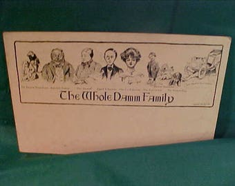 Vintage 1905 Comic Postcard   The Whole Damm Family Unused