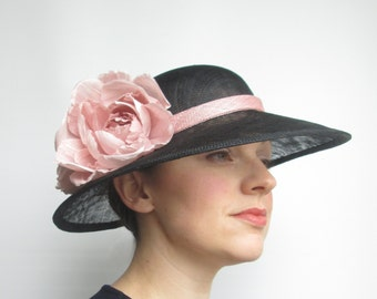 Ladies Sinamay Hat - Ladies Hat, Occasion Hat, Wedding Hat, Black Hat, Pink Hat, Mother of Bride, Races Hat, Derby, Ascot, Garden Party