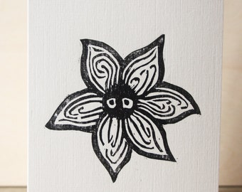 Cute Flower Woodcut Greetings Card