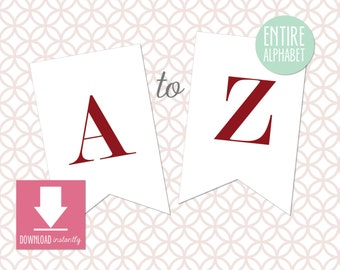Printable Pennant Banner with entire alphabet, Red and White Banner, White Banner with Merlot, Red Letters (Instant Digital Download)