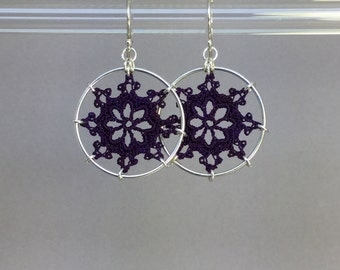 Nautical doily earrings, purple hand-dyed silk thread, sterling silver
