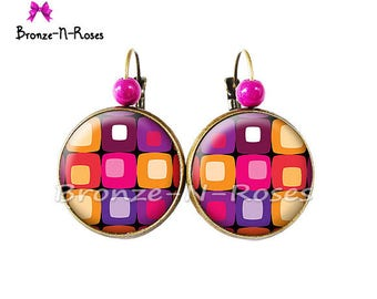 Earrings * seventies Look * pink orange fantasy glass sleepers bronze jewel cabochon