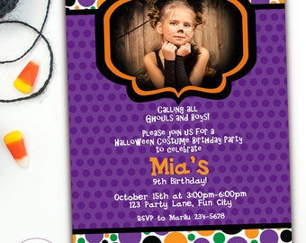 Kids Halloween Birthday Invitations, Halloween Invitation Kids, Halloween Kids Party Invitation, Halloween Costume Party Invites, Printable