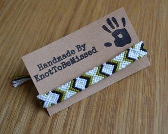Handmade Woven Macrame Friendship Bracelet White Black Green