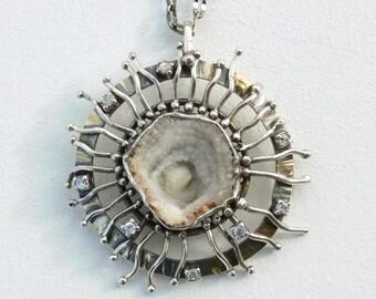 Asteracae – Dandelion, Pendant, Silver 925,  Agate Flower, Zircon