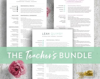Teacher Resume Template Bundle for Word - 3 Styles | Resume for Teachers | Teaching CV Teaching Resume | Resume Teacher CV Instant Download