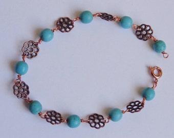 Copper & Chalk Turquoise Bracelet
