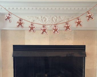 Gingerbread Man Christmas Garland, Gingerbread Man Bunting