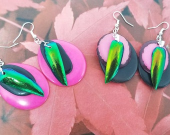 Pink and Black Statement Earrings - Ecofriendly Jewelry - Natural Beetle Earrings - Valentines Day Jewelry - Girlfriend Gift -Science Gift