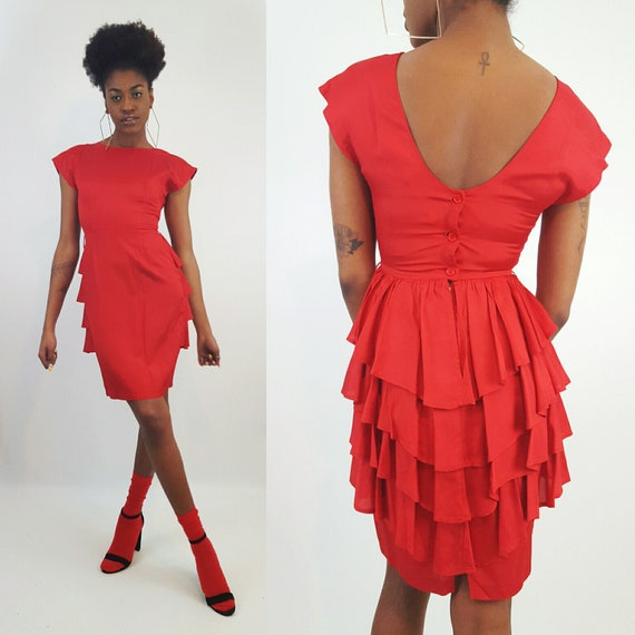 90's Red Ruffle Minidress - XS Small Vintage Girly Party Dress - Women Fun Statement Fashion - 1990s Short Silky Mini Dress