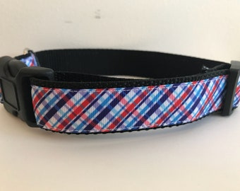 1 inch Red, White and Blue Nautical Fourth of July Plaid Dog Collar