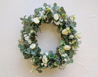 Wreath, Silk Flower Wreath, Artificial Wreath, Seasonal Wreath, Flower Wreath, Floral Wreath, Door Wreath