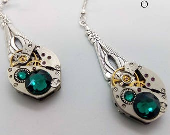 Steampunk Emerald Earrings - Steampunk Jewelry by Steamretro - Christmas gift - gift for her - earrings - steampunk - steampunk earrings