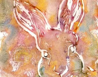 Linoprint engraving and printing-Rabbit