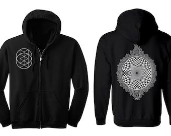 MIRROR MIRROR Hoodie Men's and Women's Geometric Op Art Black Hooded Sweatshirt Sacred Geometry Clothing