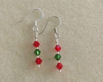 Handmade Red/Green Beaded earrings.
