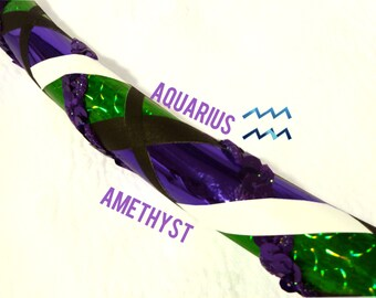 Aquarius Amethyst February Sequin Dance & Exercise Hula Hoop COLLAPSIBLE or push button purple green horoscope