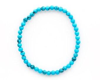 Magnesite Turquoise Gemstone Ball Bracelet 4 mm Flexible