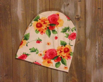 Slouchy Toque | Slouchy Beanie | Baby and Toddler | White and Pink Floral