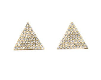 Sterling Silver Gold Plated Triangle Zirconia Earrings