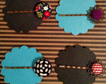 Hairpins, Red Scallop, Black and White Batik, Navy Floral, or Fuchsia Corduroy, gifts for her