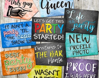 Plastic Photo Booth Phrases - PARTY MIX - Set of 5 colorful signs