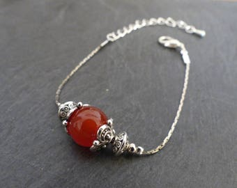 Bracelet stone red agate and silver ♥ ♥
